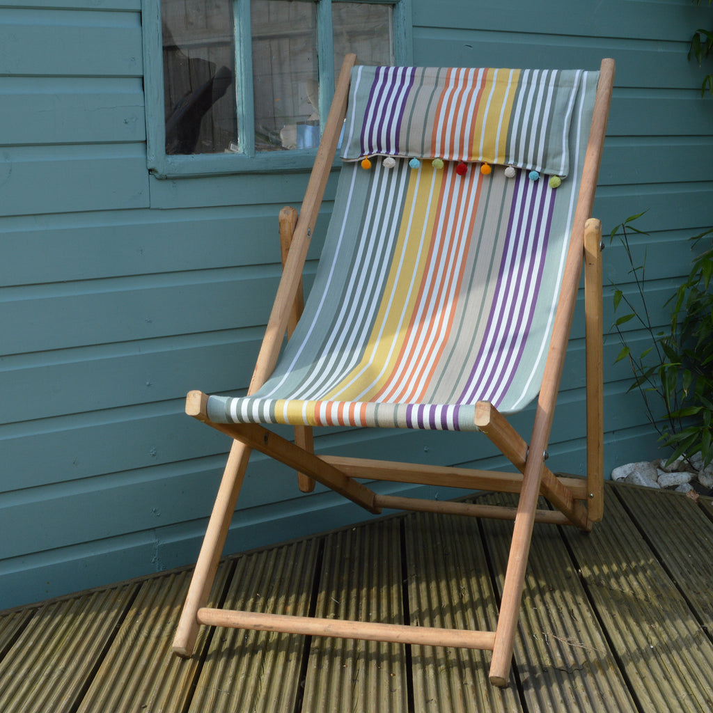 Vintage refurbished deck chair in green stripy design cotton fabric on Oates & Co.