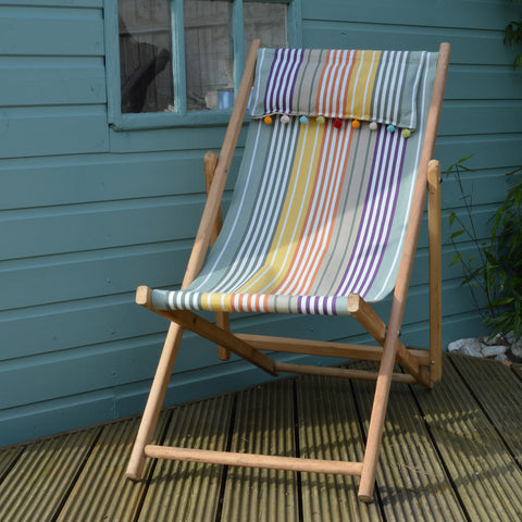 Vintage Refurbished Hattie Green Stripe Deck Chair