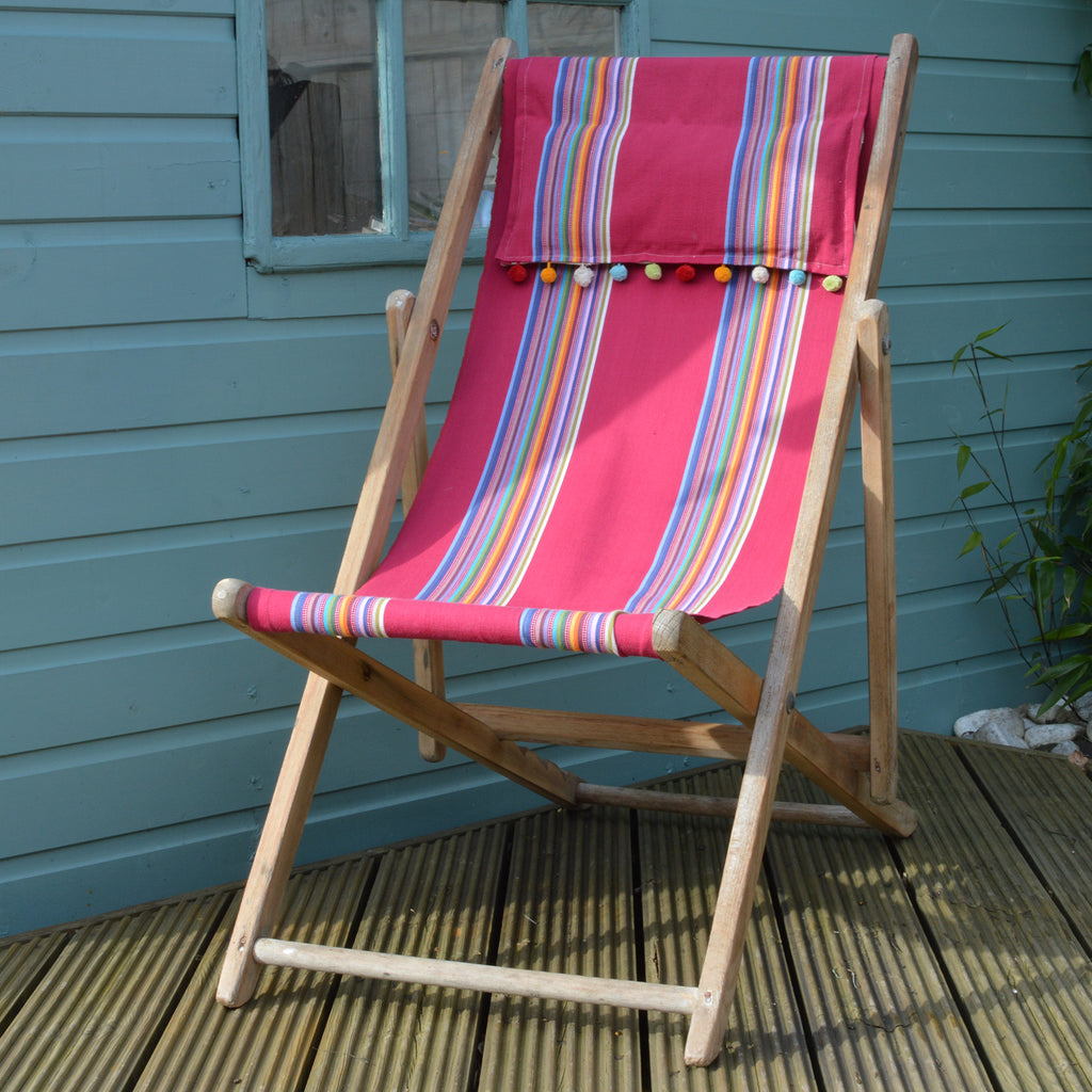 Vintage refurbished deckchair in pink stripe fabric on Oates & Co.