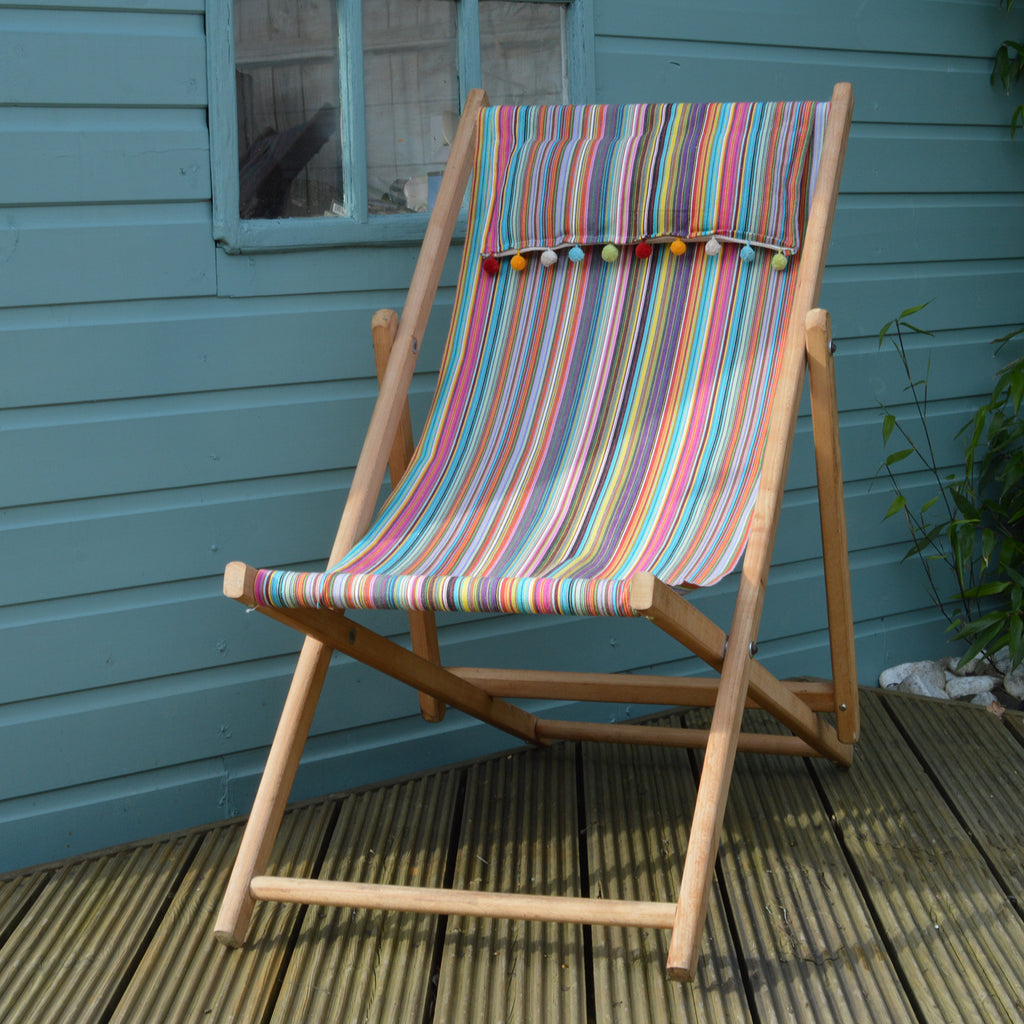 Vintage refurbished deckchair in multicolour stripe fabric by Amanda Hamilton