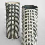 Anna Thomson Spotty Grey and White Porcelain Vase Handmade in the UK on Oates & Co.