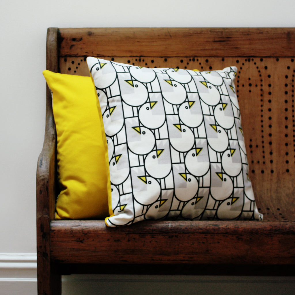 Great Gulls Cotton Cushion by Bert & Buoy on Oates & Co.