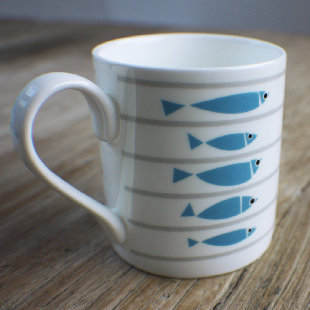 Line-Up Bone China Fish Mug by Bert & Buoy on Oates & Co.