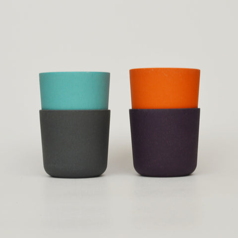 Set of 4 Bamboo Cups in Blues and Oranges by Ekobo