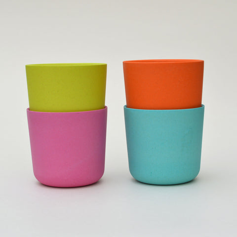 Set of 4 Bamboo Cups in Pinks and Oranges by Ekobo