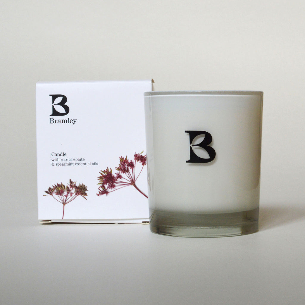 Bramley Rose Absolute and Spearmint scented candle with pure essentials oils on Oates & Co.