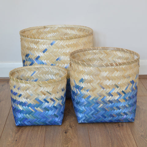 Indigo Blue Bamboo Storage Baskets by Broste