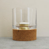 Cork and glass hurricane votive candle holder by Broste of Copenhagen on Oates & Co.