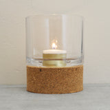 Broste Cork and Glass Tealight Candle Holder for Indoor or Outdoor use on Oates & Co.
