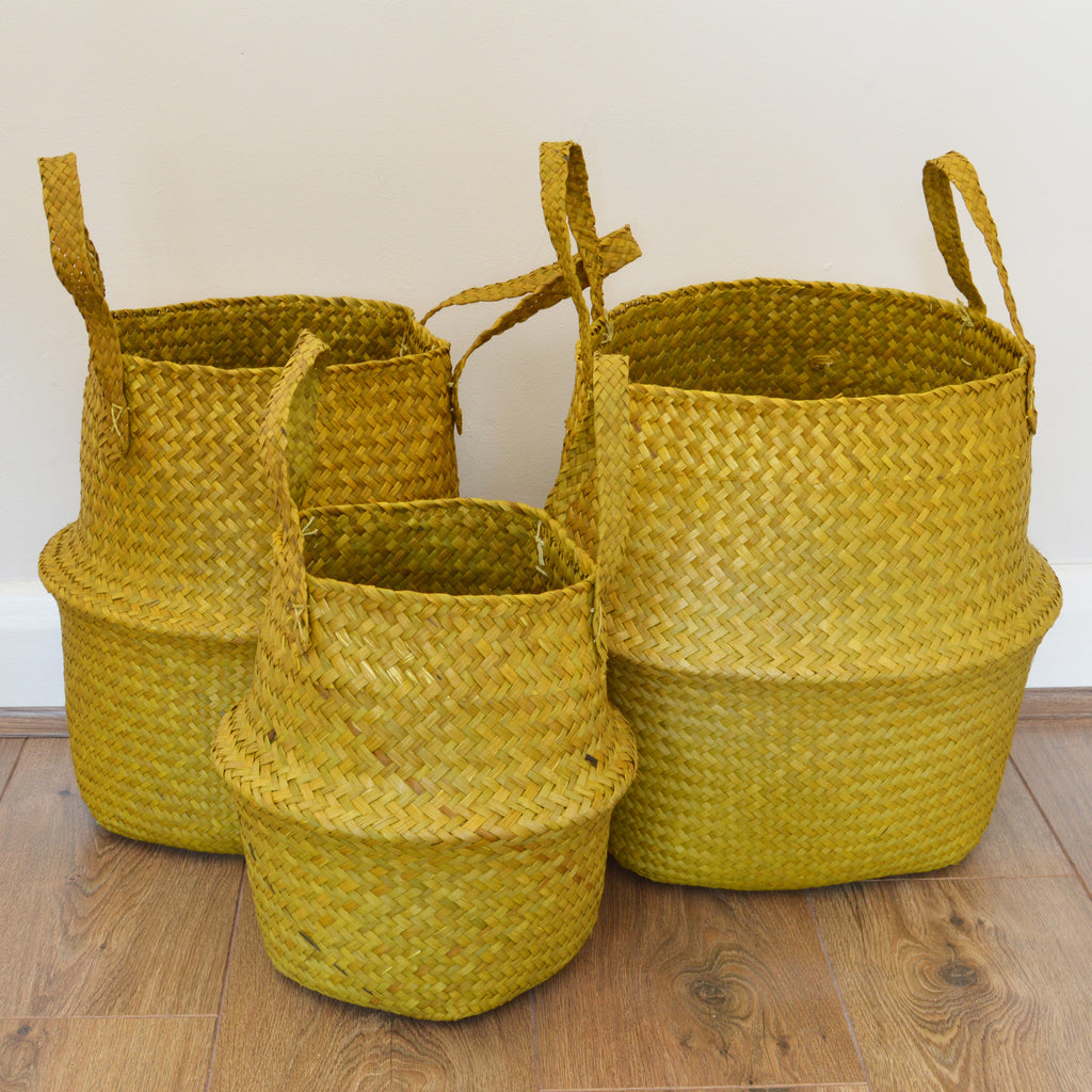 Set of yellow seagrass storage baskets by Broste of Copenhagen on Oates & Co.