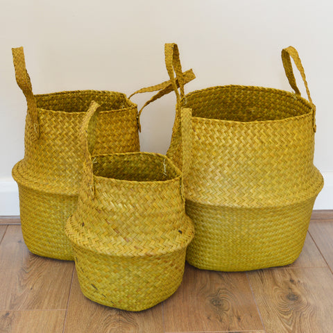 Set of Three Yellow Seagrass Storage Baskets by Broste