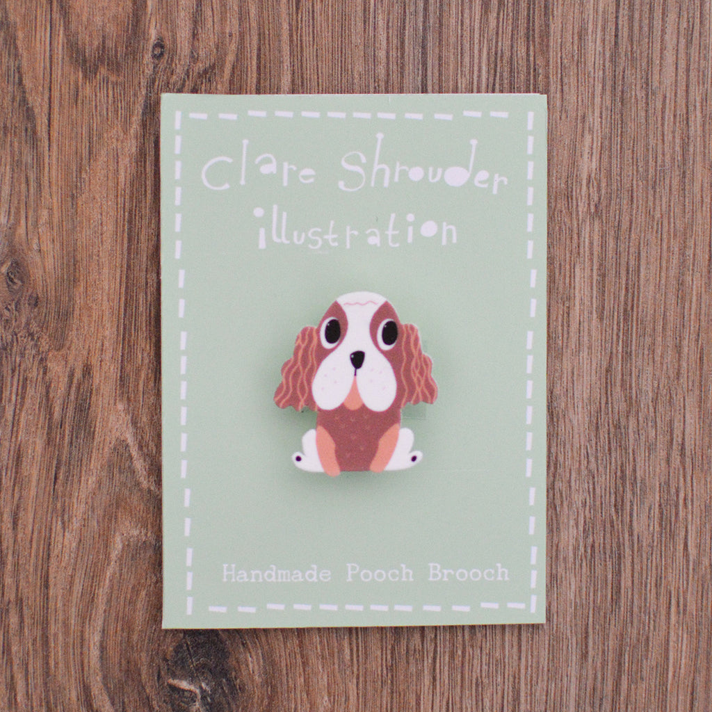 Shrink plastic king charles spaniel brooch made by Claire Shrouder on Oates & Co.