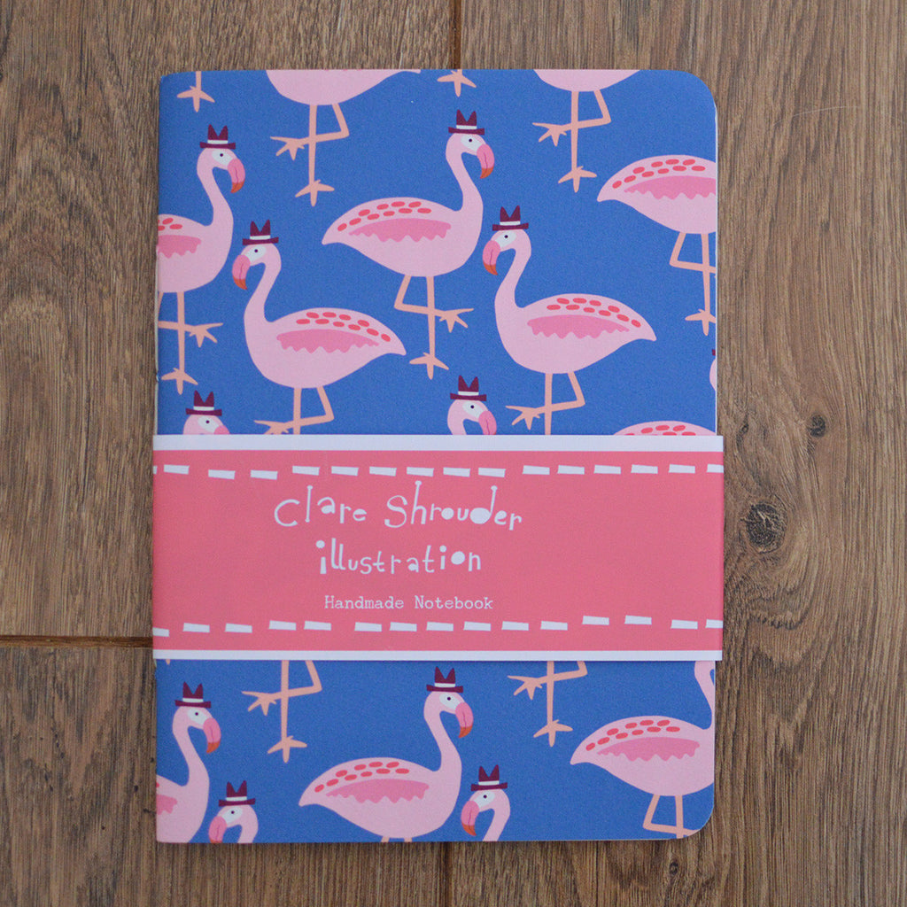 Claire Shrouder hand stitched blue and pink flamingo A5 notebook with luxury cartridge paper on Oates & Co.