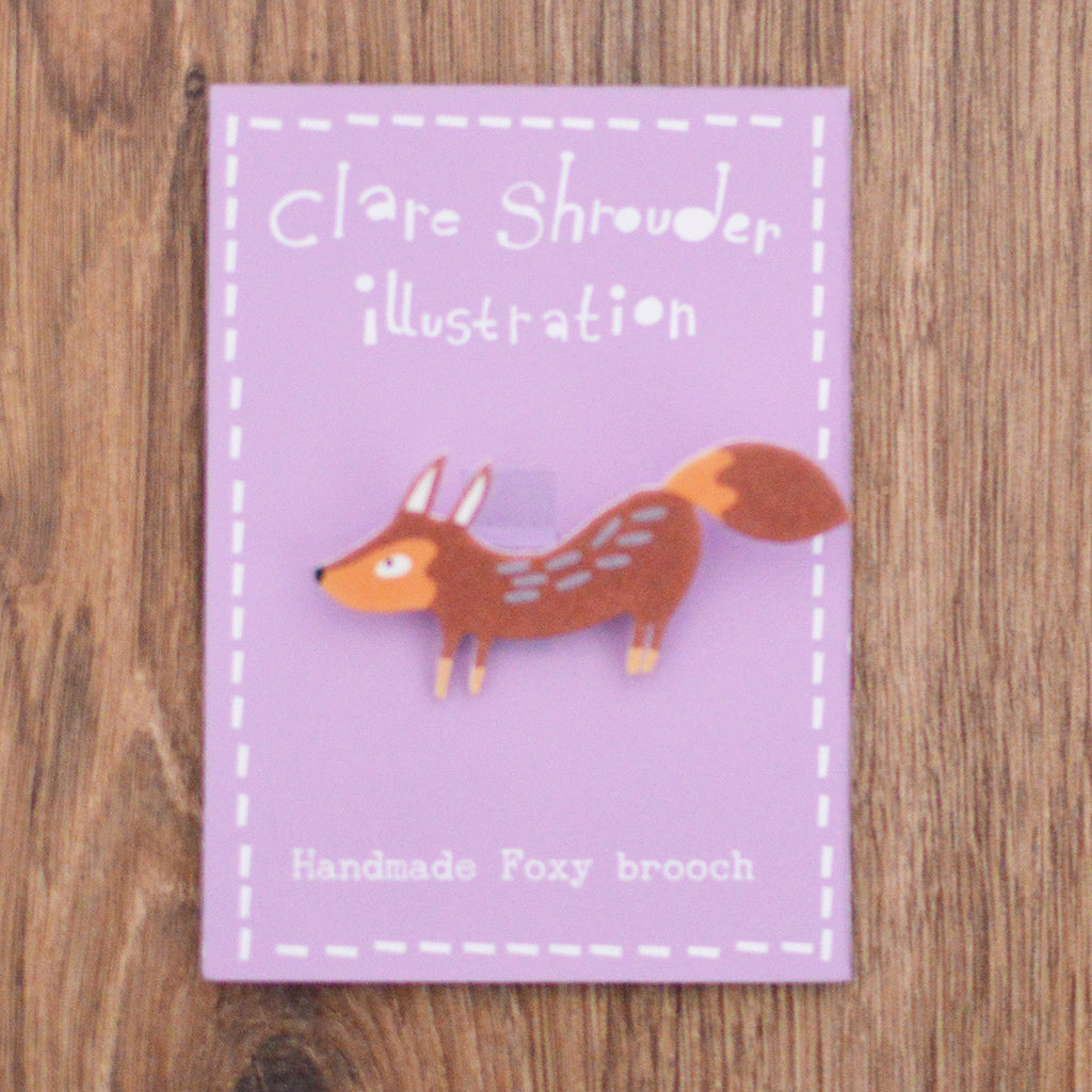 Claire Shrouder handmade shrink plastic fox brooch on Oates & Co.