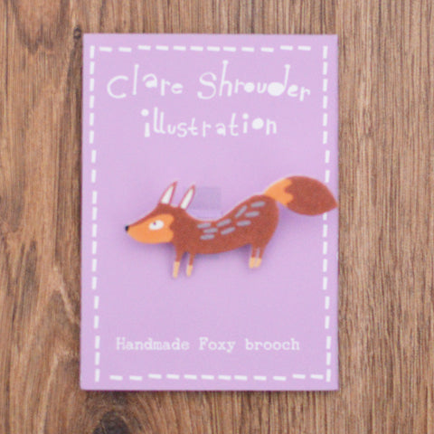 Handmade Fox Brooch by Clare Shrouder