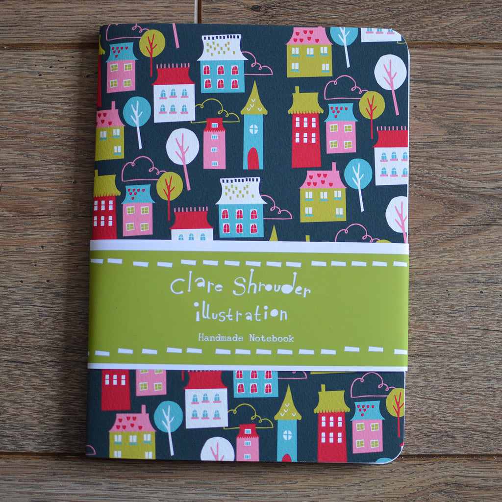 Handmade A5 notebook featuring house design with luxury cartridge paper pages by Claire Shrouder on Oates & Co.