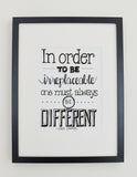 Black and white hand lettered print of In order to be irreplaceable quote by Coco Chanel on Oates & Co.