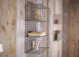 Small distressed grey wire locker room shelf by Nkuku on Oates & Co.