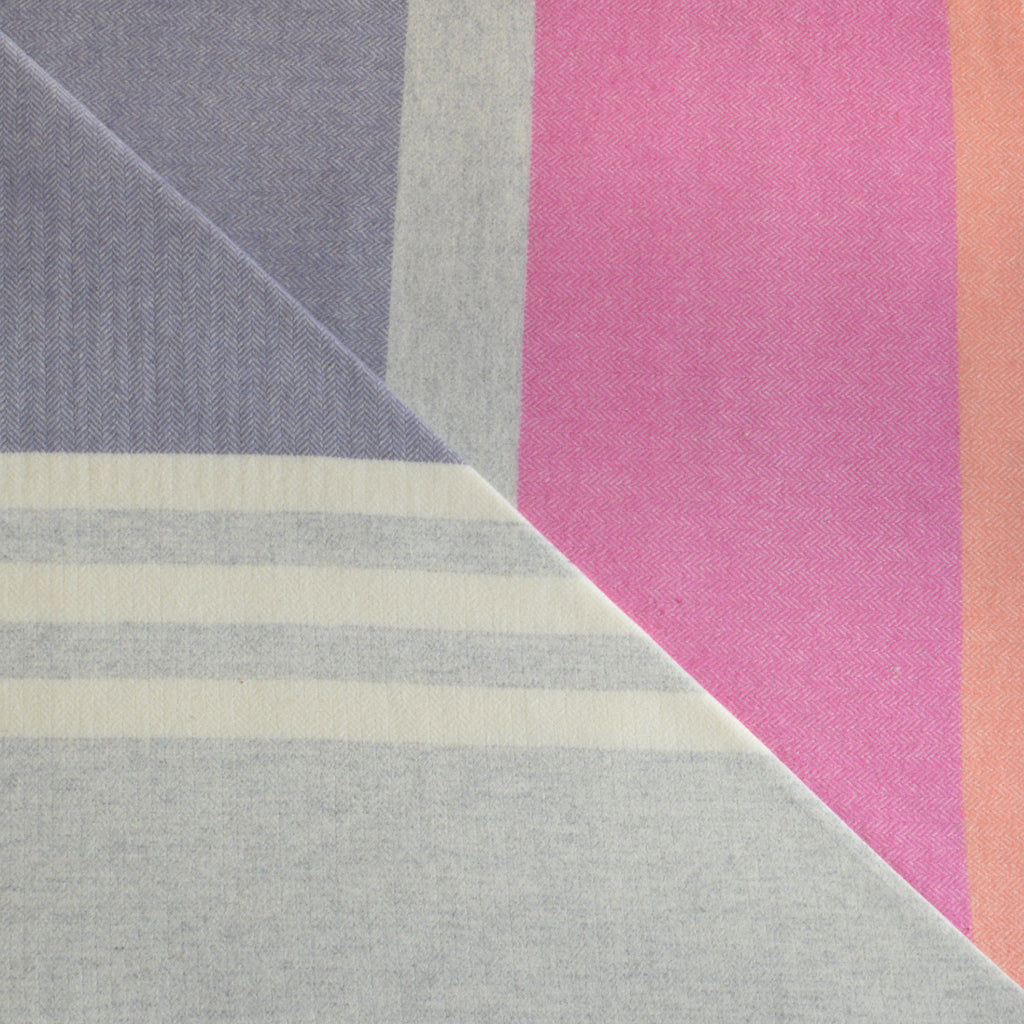 Soft Eloise Grape 100% wool throw in purple, pink and grey stripes by Twig on Oates & Co.
