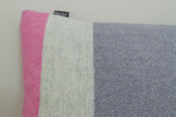 Soft rectangular lambswool Twig cushion in purple, pink and grey on Oates & Co.