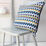 Blue, White and Mustard Chevron Wool Cushion Handmade in Britain by Gabrielle Vary on Oates & Co.