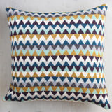 100% Wool Blue and Mustard Chevron Cushion Handmade in Britain by Gabrielle Vary on Oates & Co.