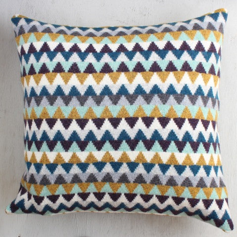 Blue and Mustard Chevron Cushion by Gabrielle Vary