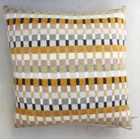 Pure wool mustard brown and grey seville cushion by Gabrielle Vary on Oates & Co.