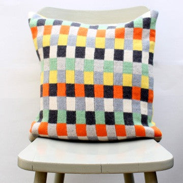 Orange, green, yellow and grey checked pure wool cushion in Plato design by Gabrielle Vary on Oates & Co.
