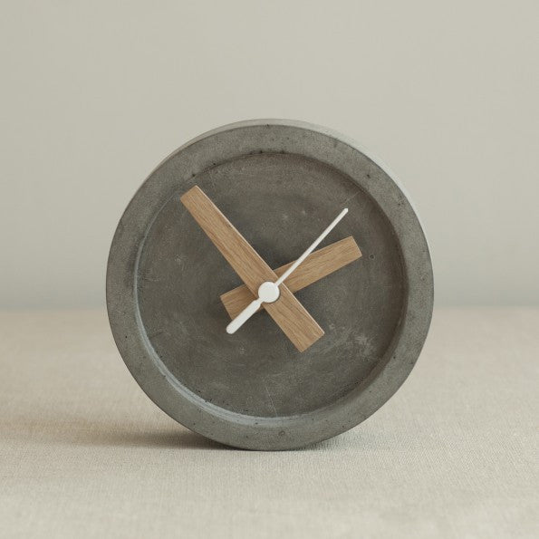 Grey concrete small table or wall clock by Wild and Wood on Oates & Co.