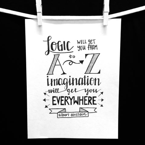 Hand Lettered Albert Einstein Quote Framed or Unframed