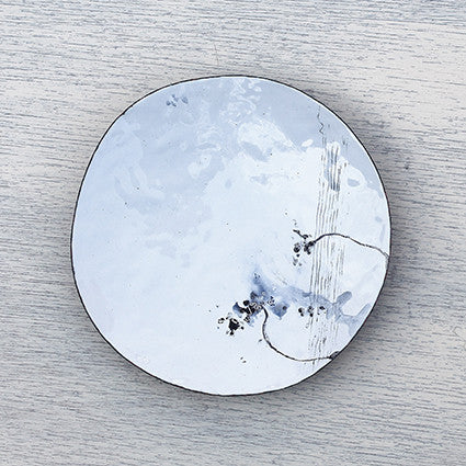 Handmade enamel white and grey dish by Hayley Sutcliffe on Oates & Co.