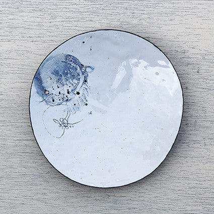 Handmade white and blue enamel dish by Hayley Sutcliffe on Oates & Co.