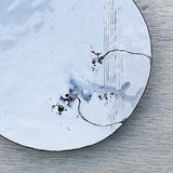 White and grey enamel plate handmade in Britain by Hayley Sutcliffe on Oates & Co.