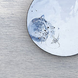 Hayley Sutcliffe designed enamel dish in white and blue with handmade details on Oates & Co.