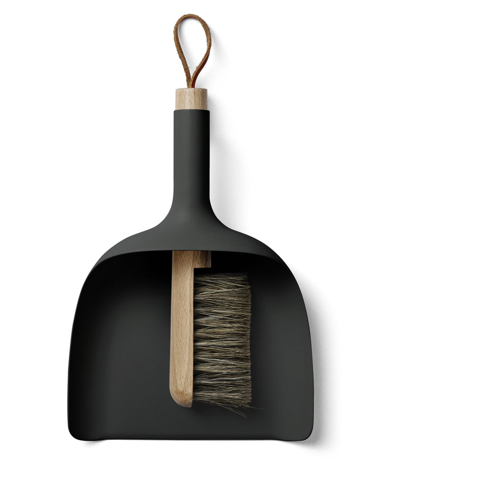 Black sweeper and funnel dustpan and brush by Menu of Copenhagen on Oates & Co.