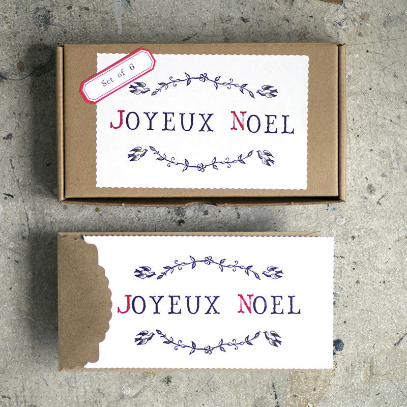 Letterpress Christmas cards with Joyeaux Noel message by Austin Press on Oates & Co.