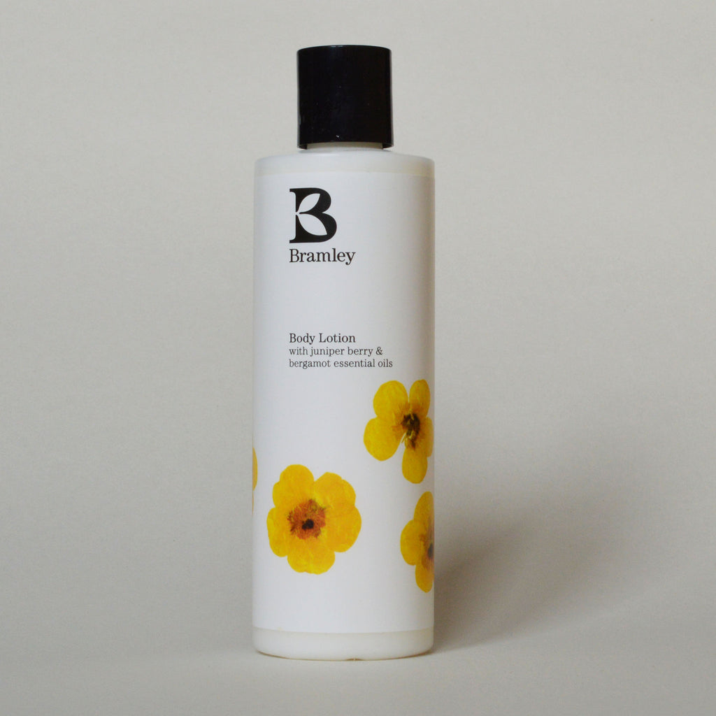 Bramley organic juniper berry and bergamot body lotion on Oates & Co.
