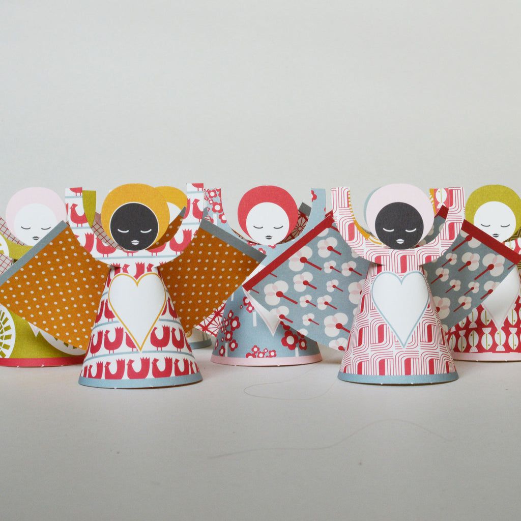 Paper Christmas Angels in pretty geometric patterns designed in Holland by Jurianne Matter on Oates & Co.