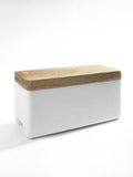 Serax large white concrete box with wooden lid for kitchen storage by Serax on Oates & Co.