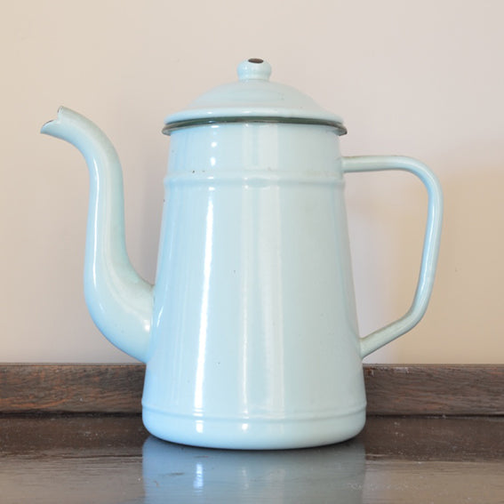 Vintage French Mint Green Enamel Coffee Pot on Oates & Co.