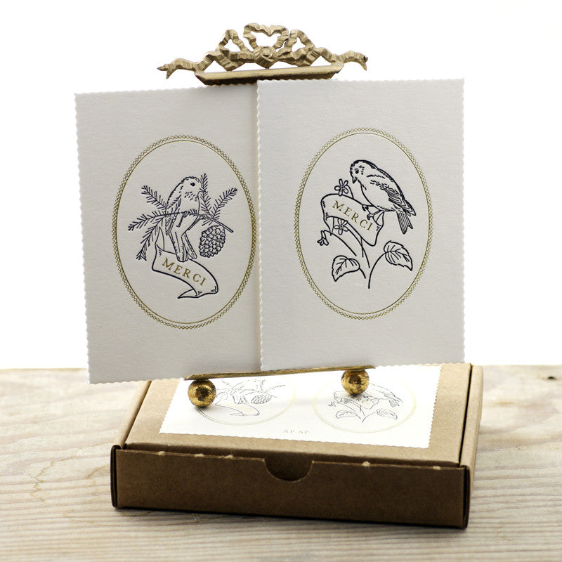 Letterpress handmade thank you cards in a vintage bird design by Austin Press on Oates & Co.