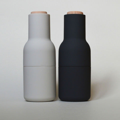 Black and white salt and pepper grinders by Menu on Oates & Co.