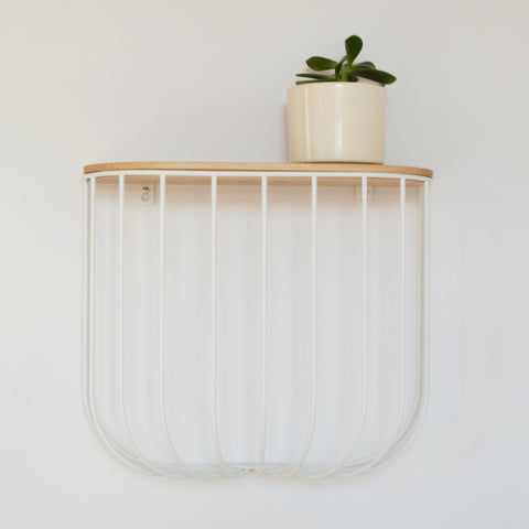 White and Wood Cage Shelf by Menu