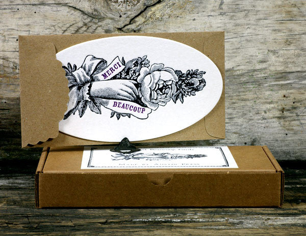 Handmade Letterpress Thank You Cards with Merci Beaucoup Message by Austin Press on Oates & Co.