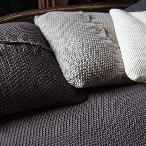 Charcoal Grey Cotton Moss Stitch Cushion Cover by Nkuku