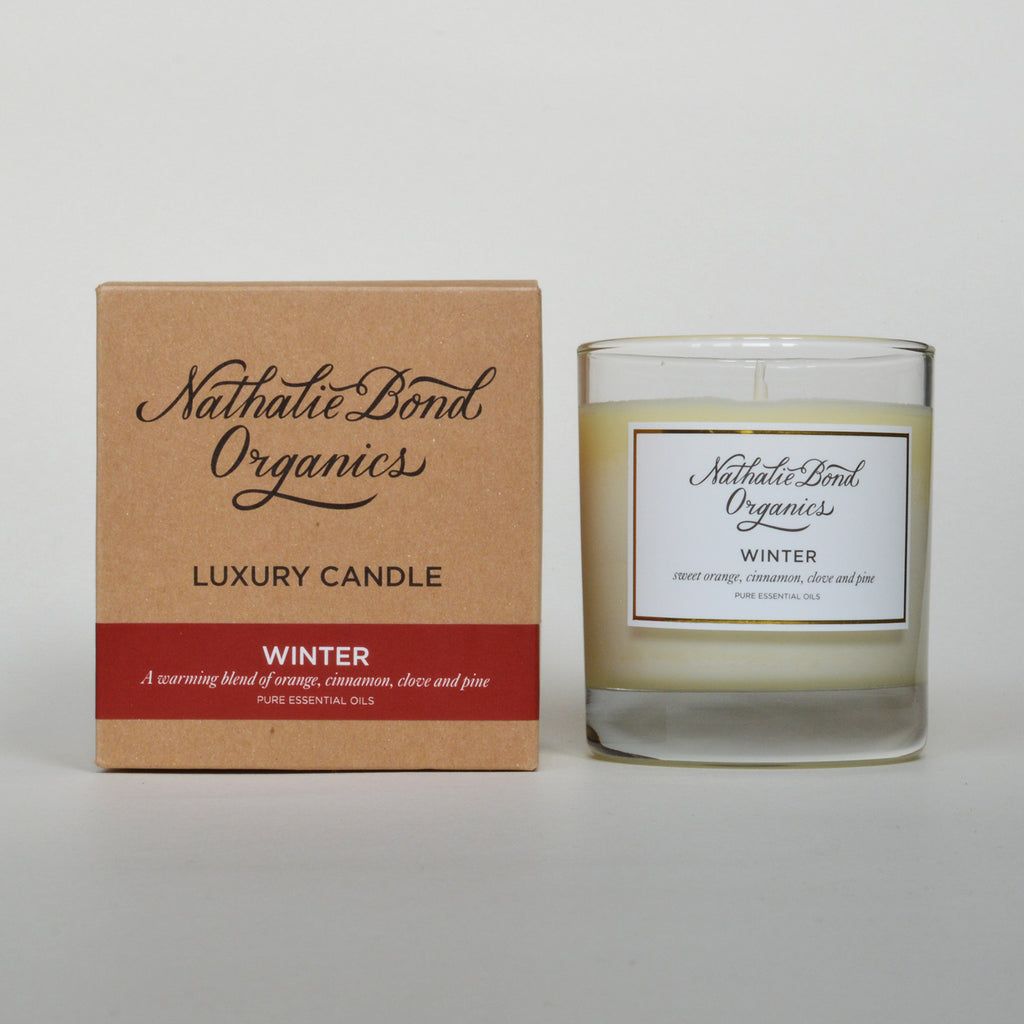 Organic hand poured natural wax winter fragranced candle by Nathalie Bond on Oates & Co.