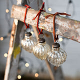 Assu Crackle Glass Silver Christmas Baubles by Nkuku on Oates & Co.