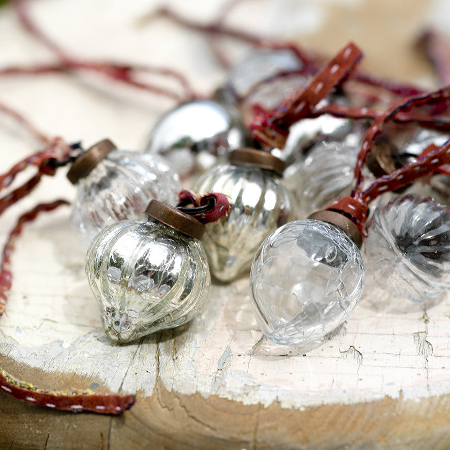 Nkuku Dew Drop Silver Mercury Baubles Christmas Decorations on Oates & Co.