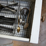 Distressed Wire Cutlery Organiser Tray in Grey by Nkuku on Oates & Co.